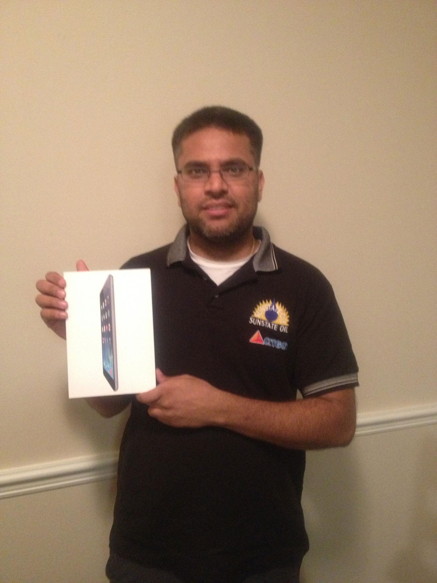 iPad mini Winner Mr Patel